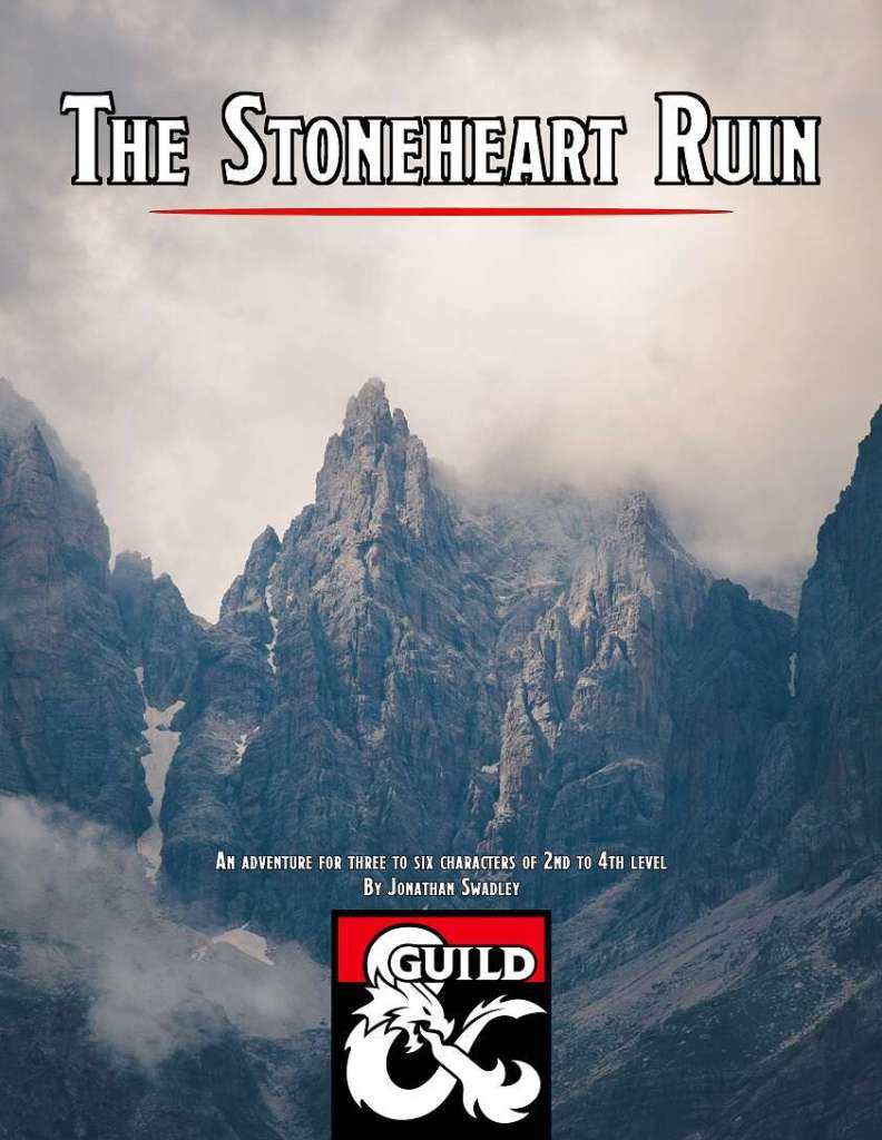 Cover image of The Stoneheart Ruin adventure by Jonathan Swadley. The subtitle proclaims that it is an adventure for three to six characters of second to forth level. The image depicts a large rocky mountain, with snow on it and clouds surrounding it.