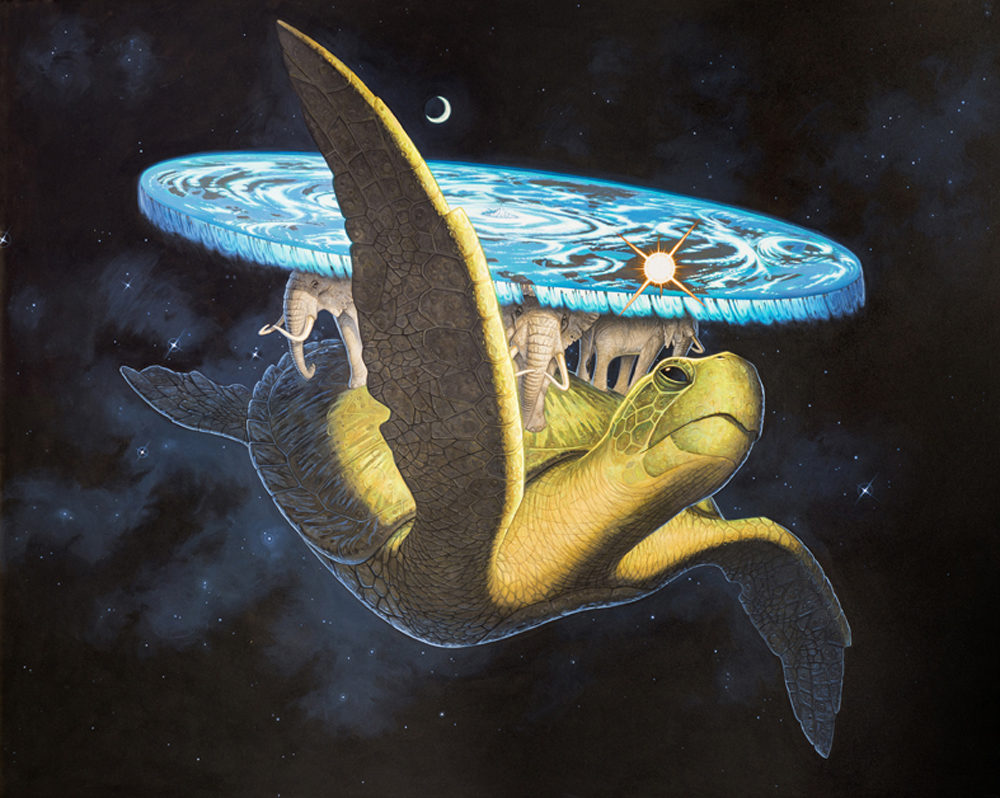 A painting of the Discworld by Paul Kidby. It's a flat planet, on the back of four giant elephants, which are on the back of an even bigger turtle swimming through space.
