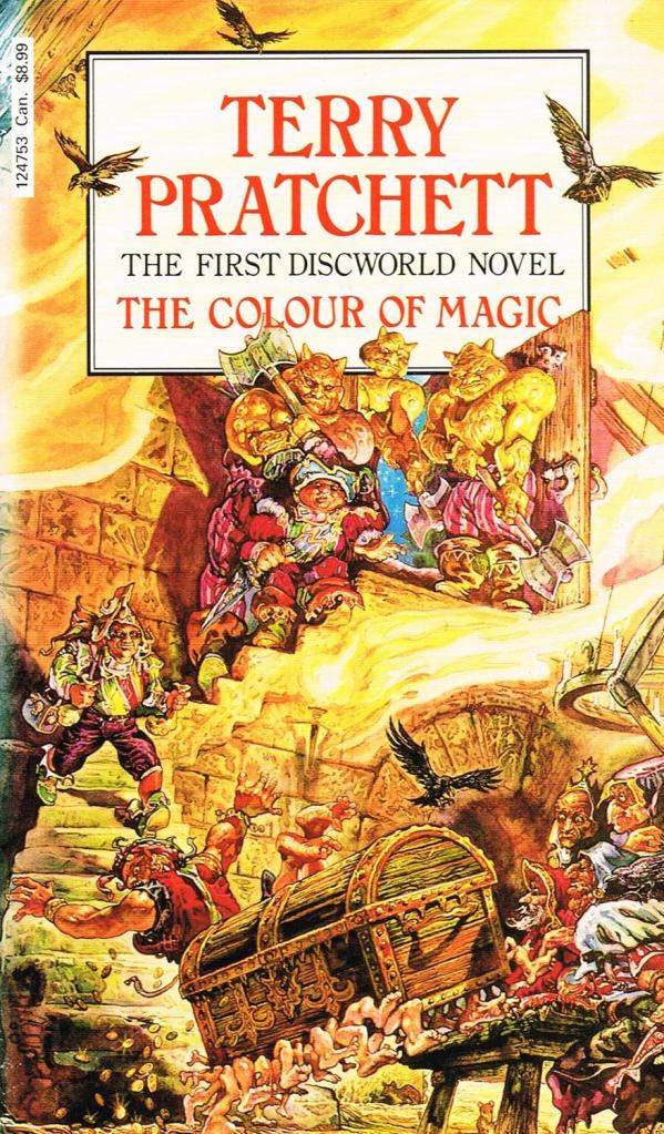 The cover of The Colour of Magic written by Terry Pratchett. The art work is from Josh Kirby.