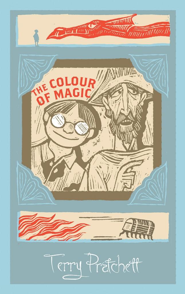 The cover of the Colour of Magic written by Terry Pratchett. Art work from Joe Mclaren.