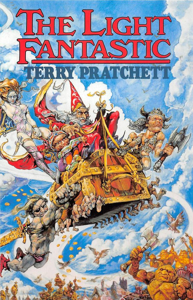 Cover image of The Light Fantastic, written by Terry Pratchett. Cover by Josh Kirby. It depicts the main characters, Rincewind and Twoflower, riding the luggage, accompanied with several of their acquaintances.