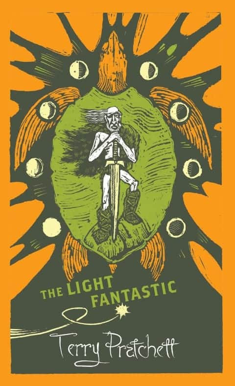 Modern cover of the Light Fantastic, it depicts a stylized turtle, with an aged barbarian warrior lying on its back, holding a giant sword.