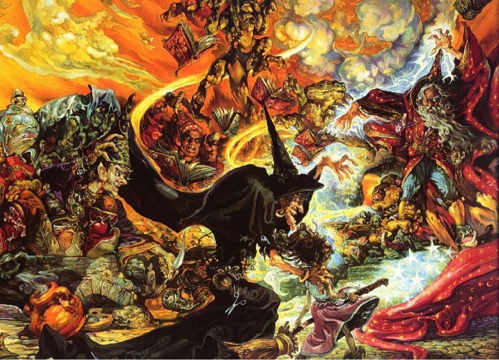 Cover image of Equal Rites by Josh Kirby. Esk stands besides the witch Granny Weatherwax, as she faces off against a wizard in a magical dual.