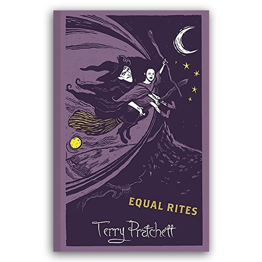 Cover image of Equal Rites designed by Joe McLaren. Esk and Granny Weatherwax ride on a broom stick above a dark mountain range.