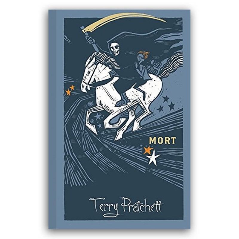 Cover of Mort by Terry Pratchett, designed by Joe McLaren. It depicts Mort and Death on the back of the white horse Binky. It's in a modern mminimalist art style.