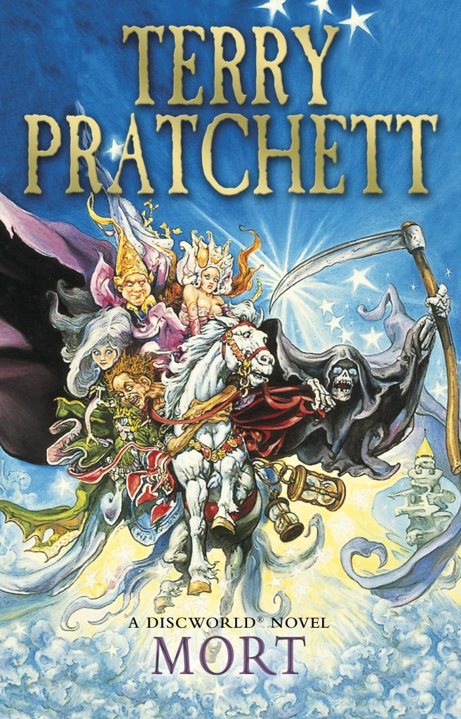 Cover of Mort by Terry Pratchett. Art designed by Josh Kirby. It depicts the character of Death riding his white horse Binky, along with the rest of the cast. It's in a very bright colours with lots of visual effects in the drawing.